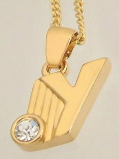 Y Schmuckset Goldkette pl und Anhänger Buchstabe Y Panzerkette Halskette