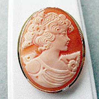 Schönheit in Muschelcamee Anhänger + Brosche Gold 585 - Goldanhänger Goldbrosche