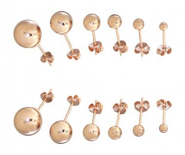 Kugel Ohrstecker Silber 925 Rotgold 3 / 4 / 5 / 6 / 8 / 10 mm Stecker Rosegold