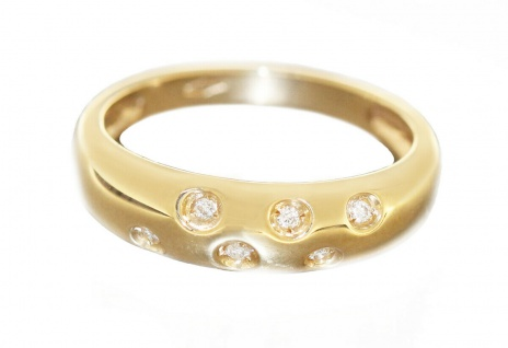 Eleganter Goldring 585 mit Brillanten massiver Ring Gold 14 kt Brillantring