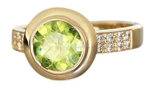 Eleganter Goldring 585 mit Peridot + Brillanten Ring Gold massiv Damenring RW 56