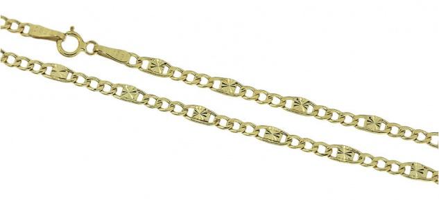 50 cm Goldkette 585 Panzerkette mit Muster dekorative Kette Gold Halskette