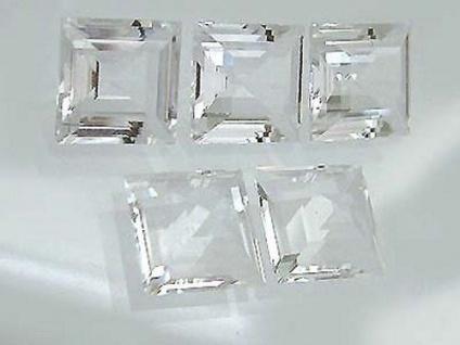 Fünf Bergkristalle im Carreeschliff 5 Stück Bergkristall Carree 15 mm