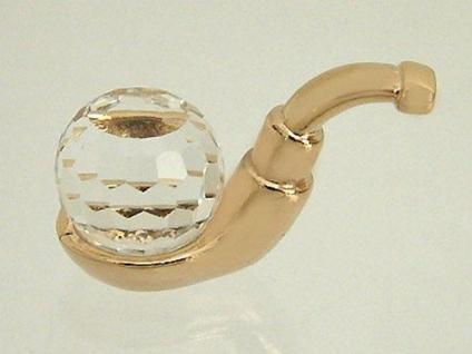 Kleine Tabakpfeife mit facettiertem Kristall zum Sammeln Pfeife Gold pl