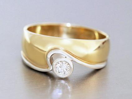 Massiver Damenring Gold 750 - 18 karat, bicolor, 1 Brillant 0, 13 ct - Goldring