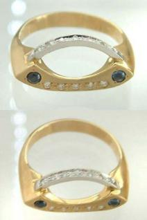 Designer Ring mit Brillant und Saphir Gold 585 Goldring 14 kt Brillantring