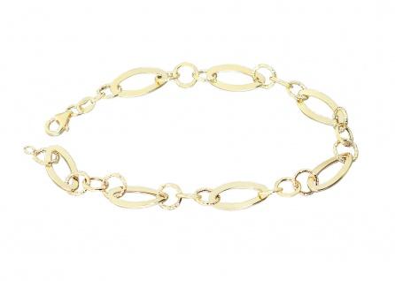 Armband Gold 585 Armkette große Glieder oval rund 21 cm Karabiner 14 Karat