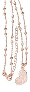 Kugelkette Silber 925 Rotgold Herz Anhänger Silberkette Halskette Sterlingsilber