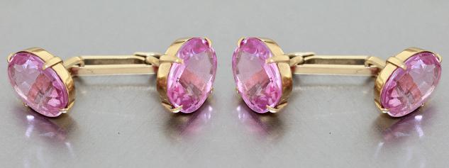 Manschettenknöpfe Gold 585 massiv mit Schmucksteinen in pink