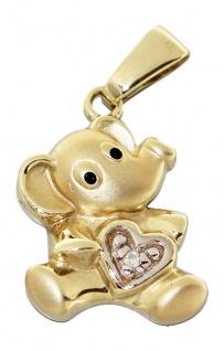 Putzig süßer Elefant - Goldanhänger 750 mit Diamant Herz - Anhänger Gold 18 kt