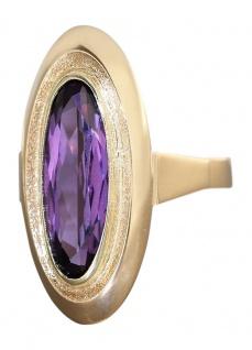 Goldring 585 mit Amethyst - Ring aus den 50er Jahren - Damenring Rw52