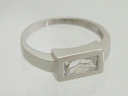 Cooler Silberring 925 mit Zirkonia im Baguetteschliff - Ring echt Silber 925