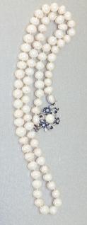 Perlenkette 51 cm Verschluss Weißgold 750 mit Saphir Blumen Collier Damen