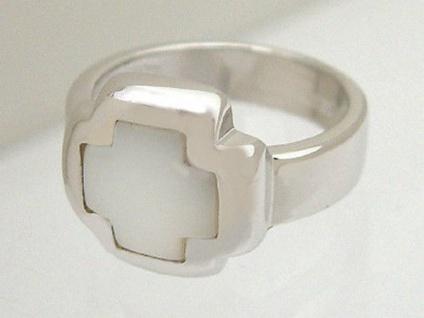 Großer Silberring 925 mit Perlmutteinlage Kreuz Ring Silber 925 Perlmutt