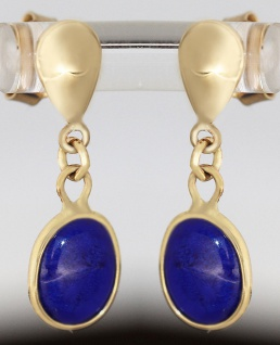 Ohrstecker Gold 585 mit Lapislazuli - Ohrhänger - Lapisohrhänger Ohrringe