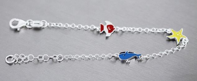 Armband Silber 925 Wal Seestern Fisch bunt Kinder Mädchen Armkette Karabiner - Vorschau 2