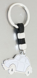 Schlüsselanhänger Silber 925 VW Käfer Anhänger mit Leder massiv Schlüsselring