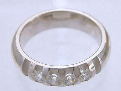Massiver Silberring 925 mit Zirkonia - Ring echt Silber Bandring 925 Damenring