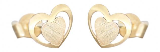 Kleine Herz Ohrstecker Gold 585 Kinder Ohrringe Herzen Stecker Gelbgold 14 Karat - Vorschau 1