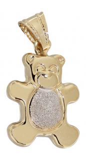 Teddy Anhänger Gold 585 - diamantiert Teddybär Goldanhänger 14 Karat Gelbgold
