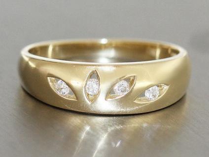Wunderschöner Goldring 585 mit Zirkonias Ring Gold Designerring Damenring