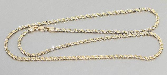 Goldkette 585 massive Halskette bicolor funkelndes Collier schwere Echtgoldkette