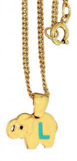 Anhänger Elefant Gold pl Buchstabe L - Kinderkette - Goldkette pl Panzerkette pl