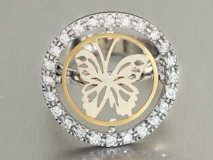 Ring Weißgold 585 bicolor Schmetterling mit Zirkonias Damenring RW 55