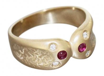 Goldring Brillantring Gold 585 mit Rubin Damenring Edler Ring Gelbgold RW 57