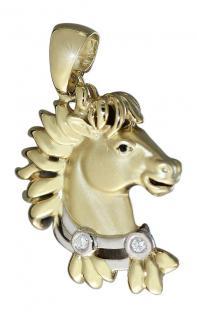 Kleiner Pferdekopf mit Diamanten - Anhänger Gold 750 - Goldanhänger Pferd 18 kt