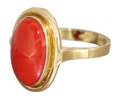 Edler Korallenring Gold 750 - Ring mit ovaler Koralle - Goldring Damenring 18 kt