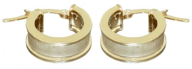 Breite Creolen Gold 585 kleine Ohrringe Ohrschmuck ca. 1, 4 cm Ø Damen Herren