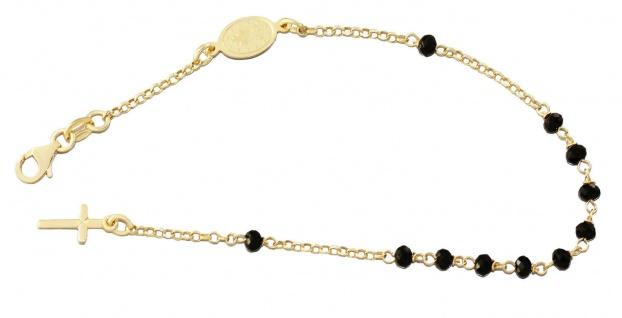 Rosenkranz Armband Silber 925 vergoldet schwarze Perlen Kreuz Maria 20 cm