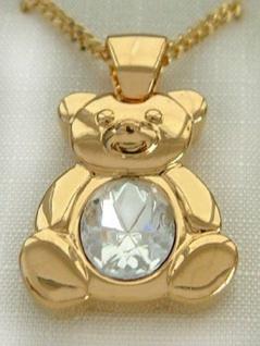 Entzückender Teddy Anhänger + Kette vergoldet - Teddybär + Goldkette Panzerkette