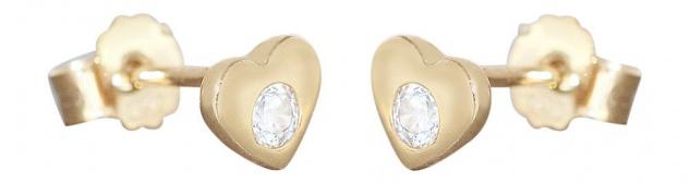 Herz Ohrstecker Gold 585 Zirkonias Ohrringe kleine Herzen 14 Karat Kinder