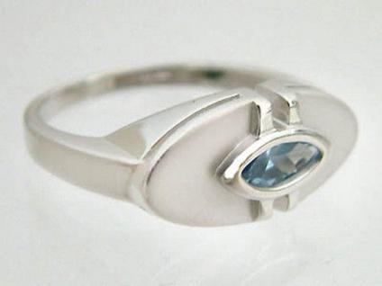 Silberring 925 mit Blautopaz im Navetteschliff Ring Silber 925 Super Design