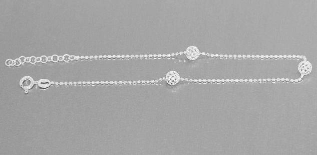 Fußkettchen Sterlingsilber 925 Silberkette mit dekorativen Kugeln Fußkette