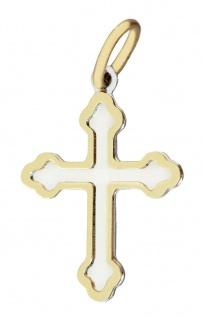 Kreuz Anhänger Gold 585 bicolor kleines Goldkreuz Kettenanhänger Taufe Kommunion