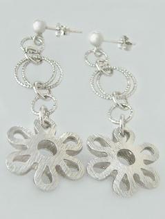 Zauberhafter langer Ohrschmuck Blumen Ohrstecker Silber 925 Ohrringe Hänger
