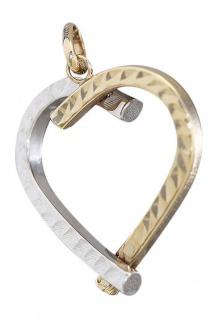 Anhänger großes Herz Gold 585 bicolor Goldherz Goldanhänger Kettenanhänger 14 kt