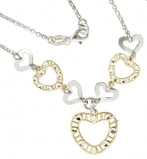 Collier Silber 925 Herz Anhänger Silberkette massiv Karabiner Halskette Damen