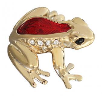 Goldener Frosch mit Zirkonias und Email rot Goldfrosch Gold pl Sammelfigur