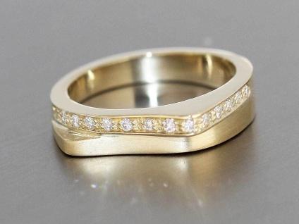 Moderner Brillantring Gold 585 massiv Brillantring 15 Brillanten Goldring 14 Kt