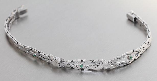 Armband Weißgold 585 mit Smaragd - Weißgoldarmband 585 - 14 kt Gold 18, 5 cm lang