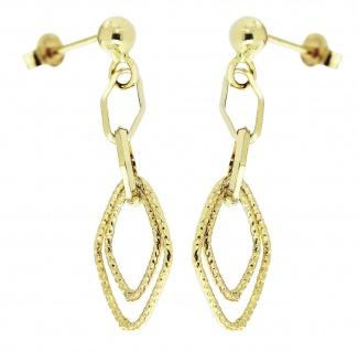 Ohrhänger Gold 585 Ohrstecker beweglich 3, 5 cm langer Ohrschmuck Damen