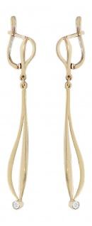 Elegante lange Ohrhänger Gold 585 mi Diamanten Ohrringe Ohrstecker 14 Karat