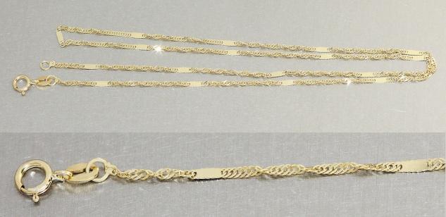 45 cm Singapurkette Gold 585 Goldkette feine massive Halskette 14 Karat