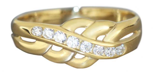 Eleganter Damenring Gold 750 mit Zirkonias - Goldring 18 kt Ring - Designerring