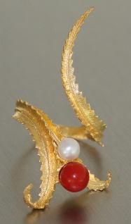 Ascione Design Ring Gold 750 - Koralle und Perle - Goldring exclusiver Damenring