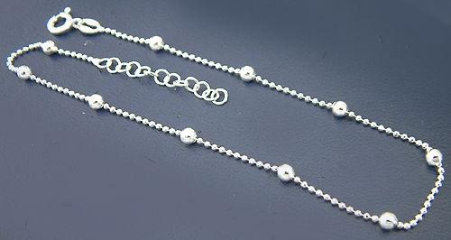 Fußkettchen Silber 925 - Kugelkette - feine Fußkette Silber - Silberkette massiv